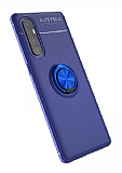Eiroo Liquid Ring Oppo Reno3 Pro Standlı Lacivert Silikon Kılıf