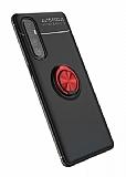 Eiroo Liquid Ring Oppo Reno3 Pro Standlı Siyah-Kırmızı Silikon Kılıf