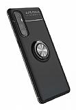 Eiroo Liquid Ring Oppo Reno3 Pro Standlı Siyah Silikon Kılıf