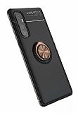 Eiroo Liquid Ring Oppo Reno3 Pro Standlı Siyah-Rose Gold Silikon Kılıf