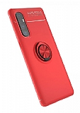 Eiroo Liquid Ring Oppo Reno3 Pro Standlı Kırmızı Silikon Kılıf