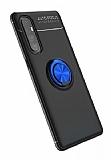 Eiroo Liquid Ring Oppo Reno3 Pro Standlı Siyah-Lacivert Silikon Kılıf