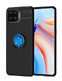 Eiroo Liquid Ring Oppo Reno4 Lite Standlı Mavi-Siyah Silikon Kılıf