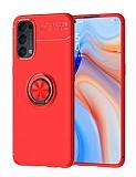Eiroo Liquid Ring Oppo Reno4 Standlı Kırmızı Silikon Kılıf