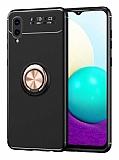 Eiroo Liquid Ring Samsung Galaxy A02 Standlı Siyah-Rose Gold Silikon Kılıf