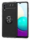 Eiroo Liquid Ring Samsung Galaxy A02 Standlı Siyah Silikon Kılıf