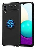 Eiroo Liquid Ring Samsung Galaxy A02 Standlı Siyah-Mavi Silikon Kılıf