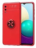 Eiroo Liquid Ring Samsung Galaxy A02 Standlı Kırmızı Silikon Kılıf