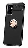 Eiroo Liquid Ring Samsung Galaxy A32 4G Standlı Rose Gold-Siyah Silikon Kılıf