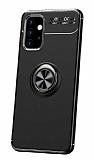 Eiroo Liquid Ring Samsung Galaxy A32 4G Standlı Siyah Silikon Kılıf