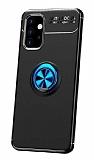 Eiroo Liquid Ring Samsung Galaxy A32 4G Standlı Mavi-Siyah Silikon Kılıf