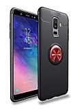 Eiroo Liquid Ring Samsung Galaxy A6 Plus 2018 Standlı Kırmızı-Siyah Silikon Kılıf