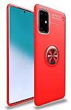 Eiroo Liquid Ring Samsung Galaxy A71 Standlı Kırmızı Silikon Kılıf