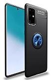 Eiroo Liquid Ring Samsung Galaxy A71 Standlı Lacivert-Siyah Silikon Kılıf
