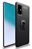 Eiroo Liquid Ring Samsung Galaxy A71 Standlı Siyah Silikon Kılıf