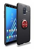Eiroo Liquid Ring Samsung Galaxy A6 2018 Standlı Kırmızı-Siyah Silikon Kılıf