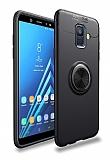 Eiroo Liquid Ring Samsung Galaxy A6 2018 Standlı Siyah Silikon Kılıf