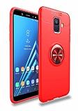 Eiroo Liquid Ring Samsung Galaxy A6 2018 Standlı Kırmızı Silikon Kılıf