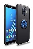Eiroo Liquid Ring Samsung Galaxy A6 2018 Standlı Lacivert-Siyah Silikon Kılıf