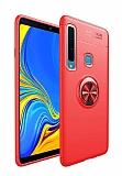Eiroo Liquid Ring Samsung Galaxy A9 2018 Standlı Kırmızı Silikon Kılıf
