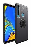 Eiroo Liquid Ring Samsung Galaxy A9 2018 Standlı Siyah Silikon Kılıf