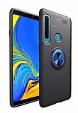 Eiroo Liquid Ring Samsung Galaxy A9 2018 Standlı Lacivert-Siyah Silikon Kılıf