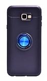 Eiroo Liquid Ring Samsung Galaxy J4 Plus Standlı Lacivert-Siyah Silikon Kılıf