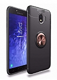 Eiroo Liquid Ring Samsung Galaxy J4 Standlı Rose Gold-Siyah Silikon Kılıf