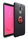 Eiroo Liquid Ring Samsung Galaxy J6 Plus Standlı Kırmızı-Siyah Silikon Kılıf