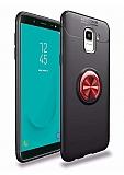 Eiroo Liquid Ring Samsung Galaxy J6 Standlı Kırmızı-Siyah Silikon Kılıf