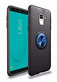 Eiroo Liquid Ring Samsung Galaxy J6 Standlı Lacivert-Siyah Silikon Kılıf