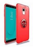 Eiroo Liquid Ring Samsung Galaxy J6 Standlı Kırmızı Silikon Kılıf