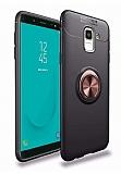 Eiroo Liquid Ring Samsung Galaxy J6 Standlı Rose Gold-Siyah Silikon Kılıf