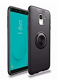 Eiroo Liquid Ring Samsung Galaxy J6 Standlı Siyah Silikon Kılıf