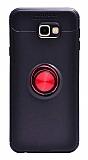 Eiroo Liquid Ring Samsung Galaxy J7 Prime / Prime 2 Standlı Kırmızı-Siyah Silikon Kılıf