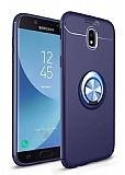 Eiroo Liquid Ring Samsung Galaxy J7 Pro 2017 Standlı Lacivert Silikon Kılıf
