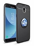 Eiroo Liquid Ring Samsung Galaxy J7 Pro 2017 Standlı Lacivert-Siyah Silikon Kılıf