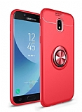 Eiroo Liquid Ring Samsung Galaxy J7 Pro 2017 Standlı Kırmızı Silikon Kılıf