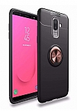 Eiroo Liquid Ring Samsung Galaxy J8 Standlı Rose Gold-Siyah Silikon Kılıf