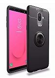 Eiroo Liquid Ring Samsung Galaxy J8 Standlı Siyah Silikon Kılıf