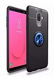 Eiroo Liquid Ring Samsung Galaxy J8 Standlı Lacivert-Siyah Silikon Kılıf