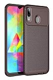 Eiroo Rugged Carbon Samsung Galaxy M10 Kahverengi Silikon Kılıf