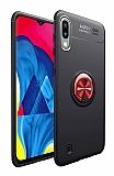Eiroo Liquid Ring Samsung Galaxy M10 Standlı Kırmızı-Siyah Silikon Kılıf