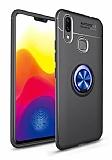 Eiroo Liquid Ring Samsung Galaxy M20 Standlı Lacivert-Siyah Silikon Kılıf