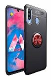 Eiroo Liquid Ring Samsung Galaxy M30 Standlı Kırmızı-Siyah Silikon Kılıf