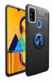 Eiroo Liquid Ring Samsung Galaxy M21 Standlı Siyah-Mavi Silikon Kılıf