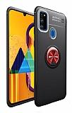 Eiroo Liquid Ring Samsung Galaxy M21 Standlı Siyah-Kırmızı Silikon Kılıf