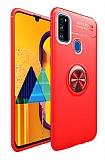 Eiroo Liquid Ring Samsung Galaxy M21 Standlı Kırmızı Silikon Kılıf