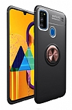 Eiroo Liquid Ring Samsung Galaxy M21 Standlı Siyah-Rose Gold Silikon Kılıf