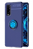 Eiroo Liquid Ring Oppo Find X2 Standlı Mavi Silikon Kılıf